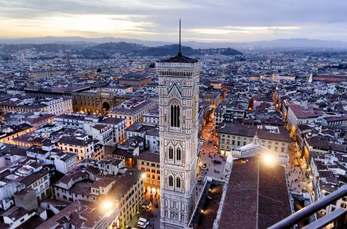 Florence City Aerial View At Sunset