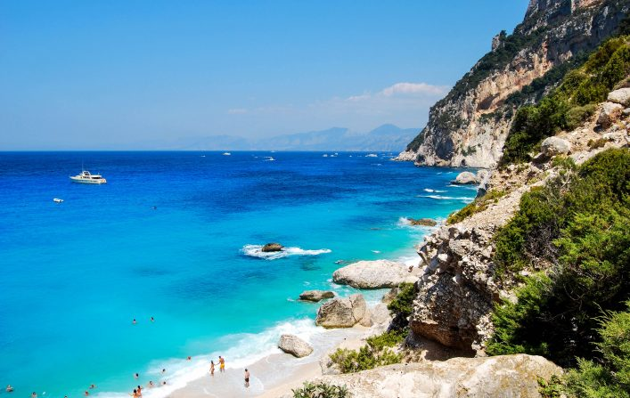 Blue beach with some people seen from top Cala Goloritze