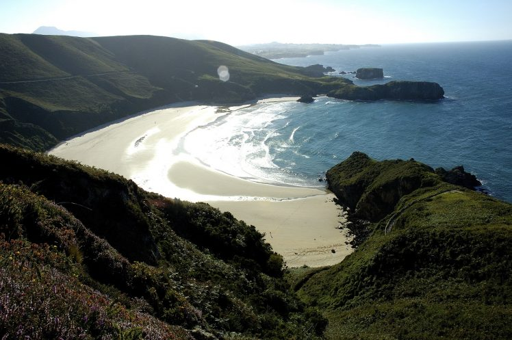Tombia green beach in Llanes Asturias Spain