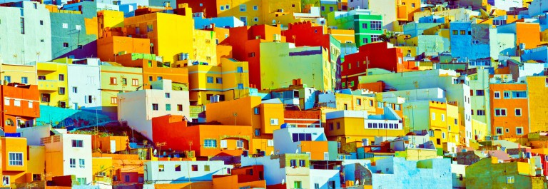 Gran Canaria colourful buildings iStock_000038033608_Large