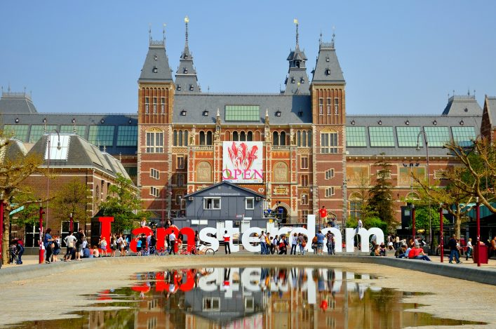 Rijksmuseum with big letters in Amsterdam, Holland (Netherlands)_shutterstock_100434301