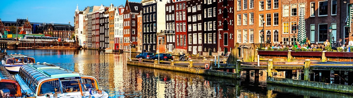 Typical Dutch Houses and Canal in the Center of Amsterdam