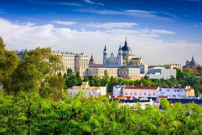Madrid, Spain skyline at Santa Maria la Real de La Almudena Cathedral and the Royal Palace._shutterstock_251448232 – Copy