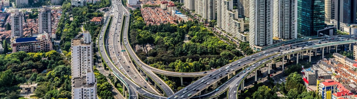 Aerial view of overpass, shanghai china