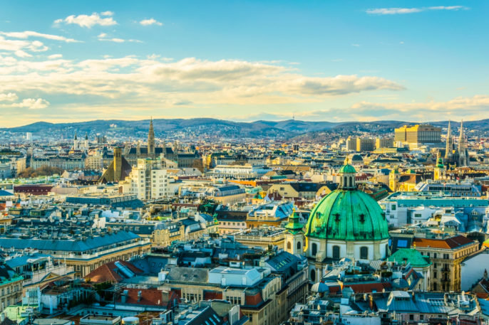 Aerial view of Vienna with tower of the town hall building shutterstock_545763607-2