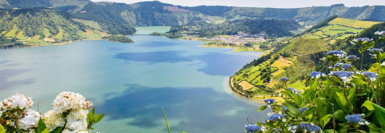 Azoren Lake of Sete Cidades with hortensia's, Azores, Portugal Europe shutterstock_217006837
