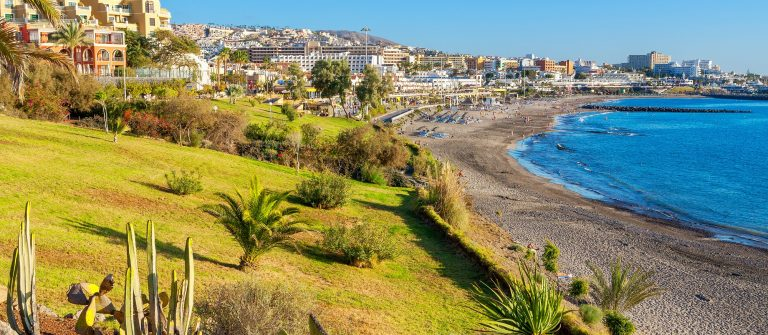 Beach of Fanabe in Costa Adeje town. Tenerife, Canary Islands, Spain_shutterstock_253695439