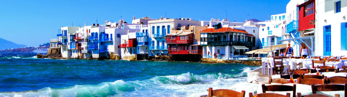 Colorful Little Venice neighborhood of Mykonos island, Greece shutterstock_112674362-2