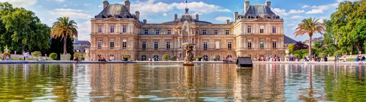 The Luxembourg Palace in The Jardin du Luxembourg or Luxembourg Gardens in Paris, France. View on the main facade and water pond_shutterstock_142864444