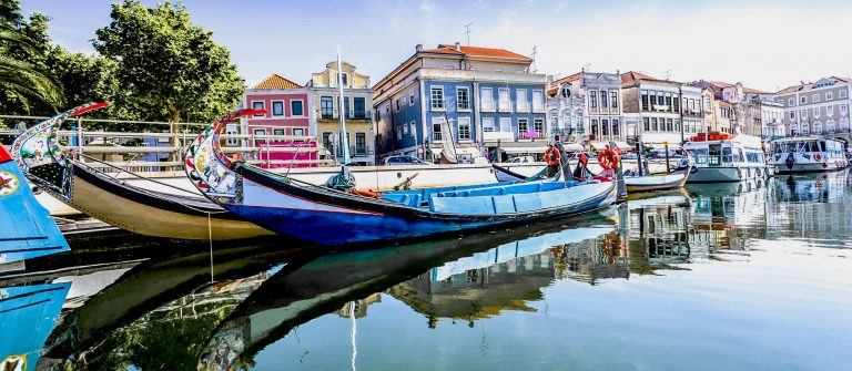 The panorama of Aveiro city and canal with boats, Portugal shutterstock_123341143-3