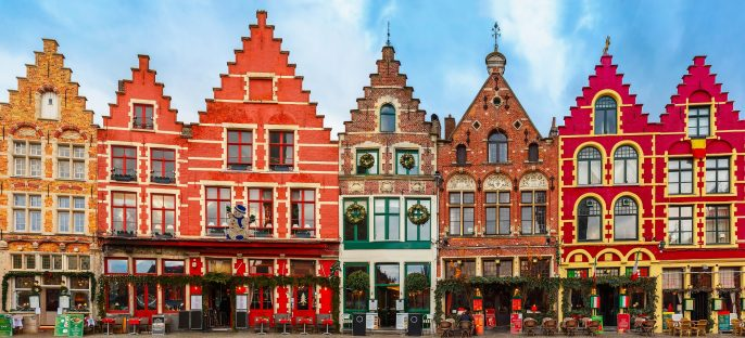 Christmas Grote Markt square in the beautiful medieval city Brugge at morning, Belgium shutterstock_252891940-2