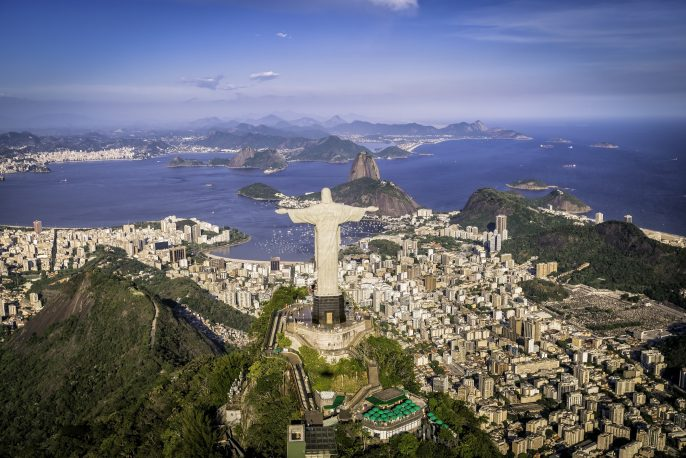Rio de Janeiro, Brazil Aerial view of Christ and Botafogo Bay from high angle_shutterstock_255640093_pix2000