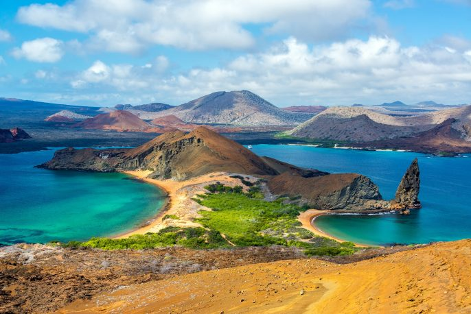 View of two beaches on Bartolome Island in the Galapagos Islands in Ecuador_shutterstock_265791809 – Copy