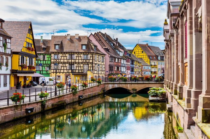 Colmar architecture and flower decoration