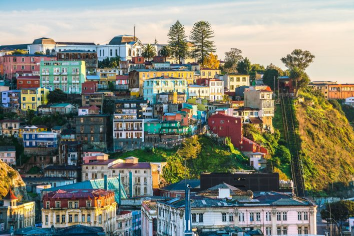Colorful buildings of the UNESCO World Heritage city of Valparaiso, Chile shutterstock_429063166-2