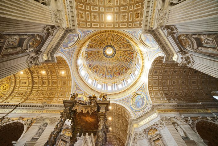 Interior of the St. Peter Basilica, Vatican Rome Italy shutterstock_219295033