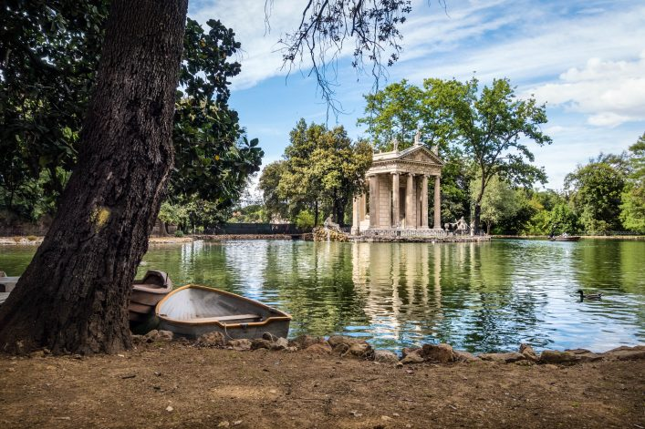 Neoclassical temple and pond in the Villa Borghese Park, Rome