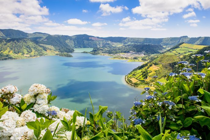 Azoren Lake of Sete Cidades with hortensia's, Azores, Portugal Europe shutterstock_217006837_pix1920