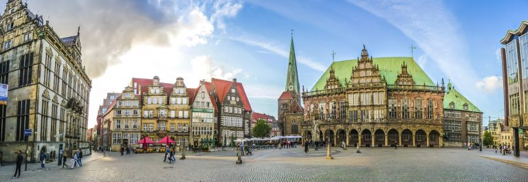 Famous Bremen Market Square in the Hanseatic City Bremen, German