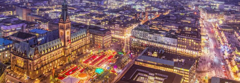 Hamburg Town Hall and Christmas Market at Night