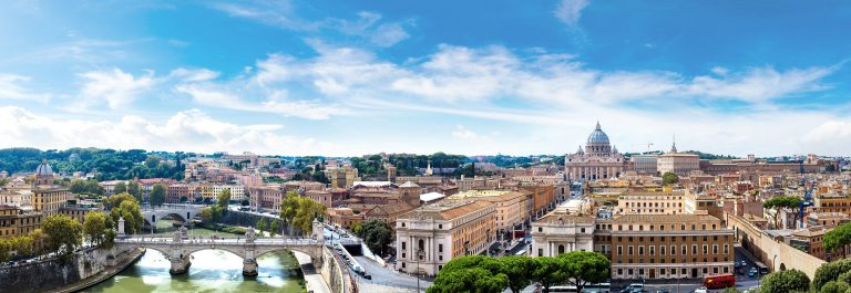 Panorama-of-Rome-and-Basilica-of-St.-Peter-in-a-summer-day-in-Vatican-shutterstock_351220472
