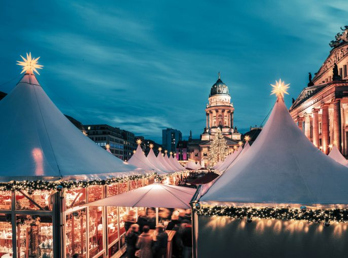 Christmas market in Berlin, toned image, text space