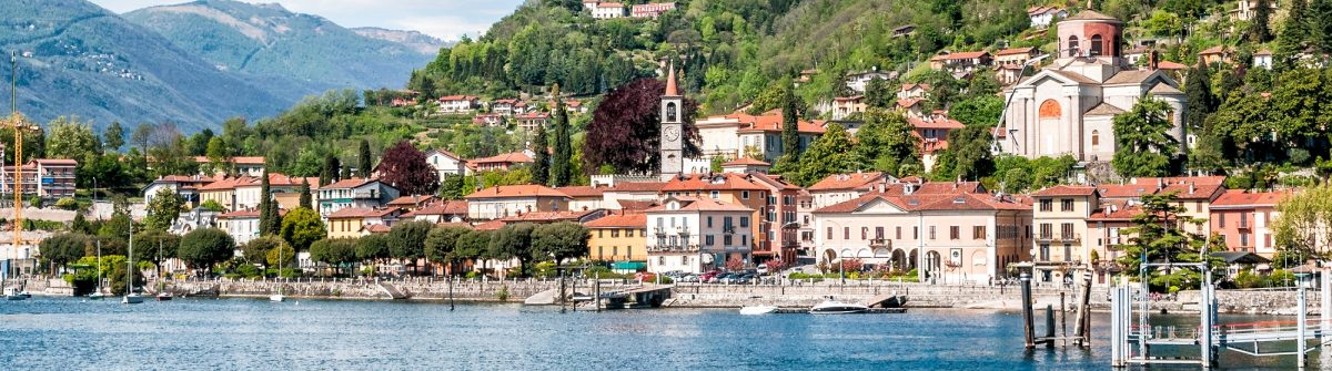 Laveno-Mombello is a small town on the shore of Lake Maggiore, Varese, Italy_444307963