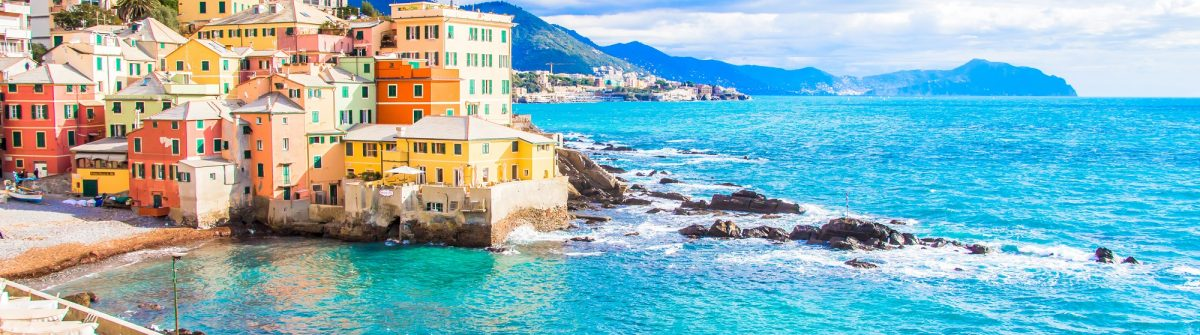 Sea in a winter day in Boccadasse, a district of Genoa in Italy,_538320580