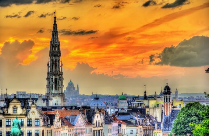 Dramatic sunset over Brussels – Belgium_335428304