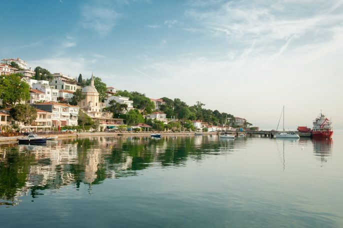 Paradise near Istanbul, Turkey. Port of Burgazada, the third largest of the Princes' Islands in the Sea of Marmara, near Istanbul, Turkey. shutterstock_288159674