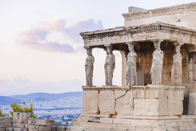 Detail of Erechtheion in Acropolis of Athens, Greece iStock_000079560933_Large