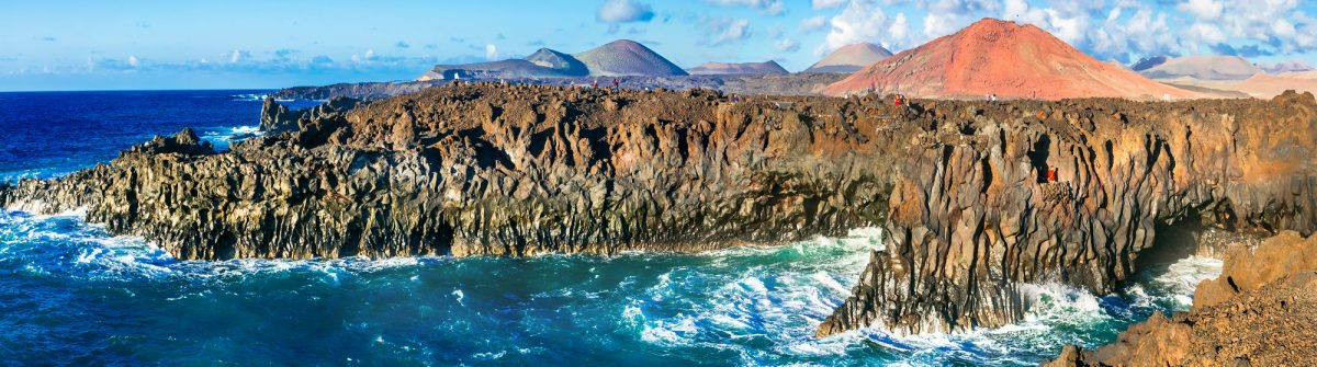 Impressive Los Hervideros lava's caves in Lanzarote island, popular touristic attraction, Canary islands_573601732