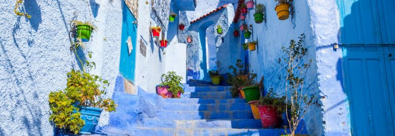 Allay of Chefchaouen, Morocco, the striking, variously hued blue-washed old town_548825320