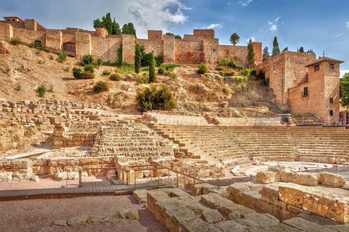 View-of-the-ancient-Roman-amphitheater-and-the-Alcazaba-fortress-in-Malaga.-Malaga.-Costa-del-Sol.-Andalusia.-Spain.-shutterstock_1221600385