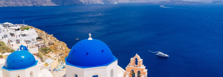 Beautiful blue dome churches in Oia, Santorini
