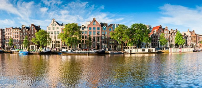 Amsterdam tranquil canal scene, Holland