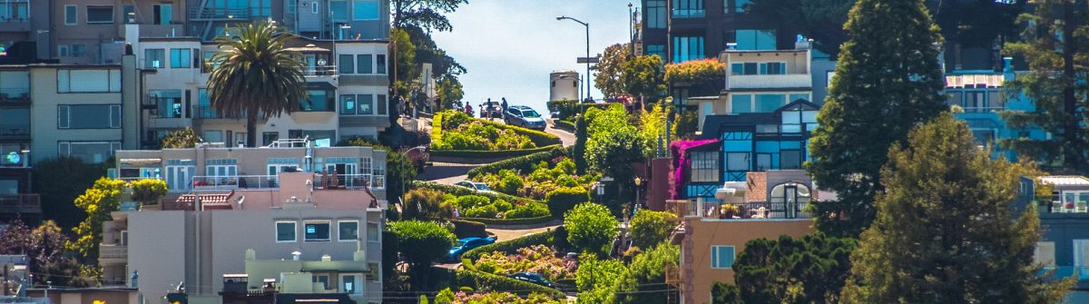 The famous Lombard Street, San Francisco, California, USA