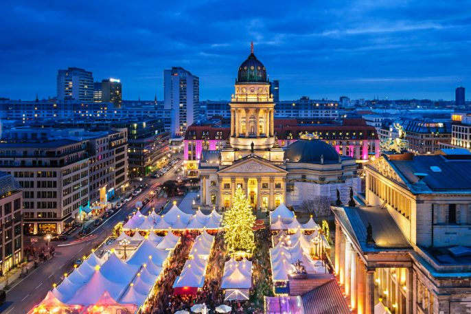 Aerial view onto Christmas market at Gendarmenmarkt square in Berlin