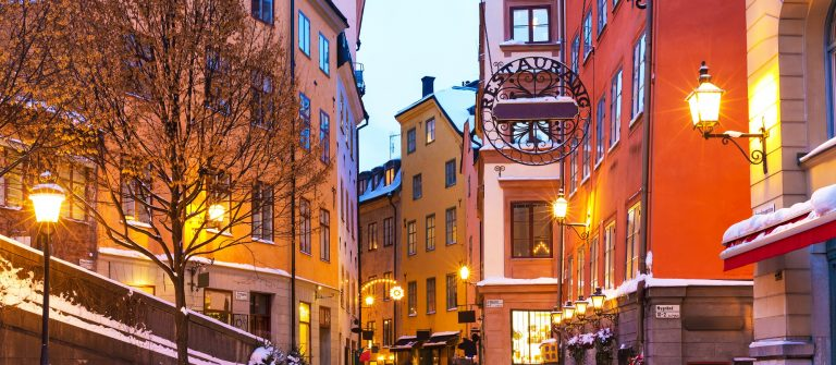 Evening-winter-scenery-of-street-in-Old-Town-Gamla-Stan-in-Stockholm-Sweden
