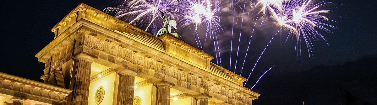 Firework at Brandenburg Gate in Berlin