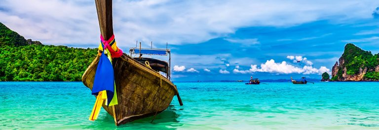 Long boat and tropical beach, Andaman Sea, Thailand