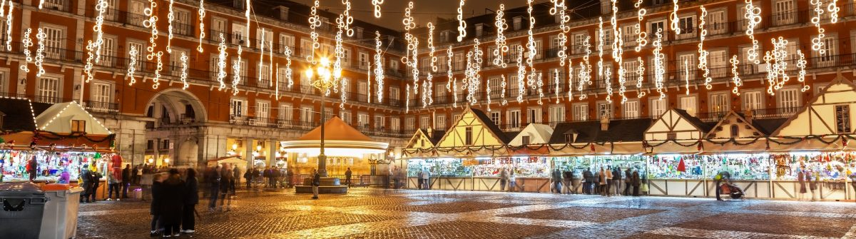 Main-square-of-Madrid-illuminated-for-christmas-shutterstock_159048302
