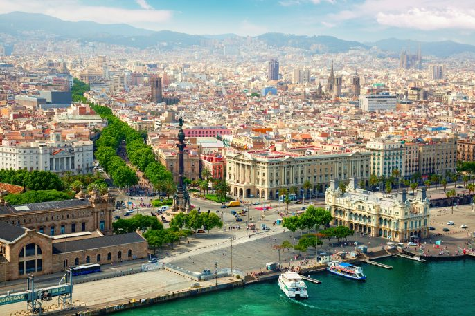 Beautiful view of Barcelona from the river side