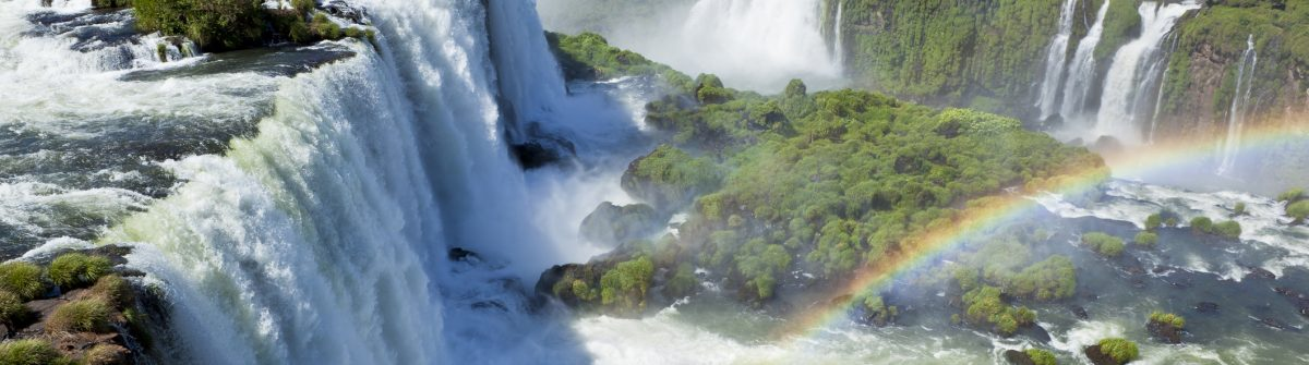 Argentina Iguazu Waterfalls Garganta del Diablo with rainbow