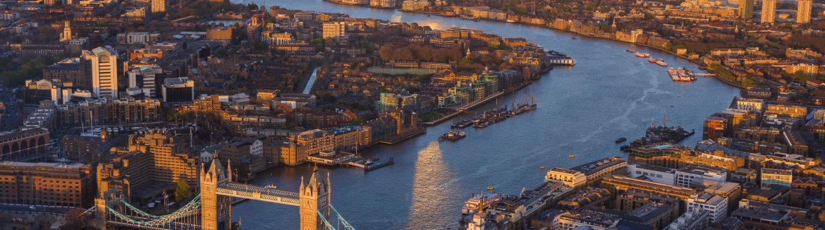 London skyline view of River Thames and Tower Bridge