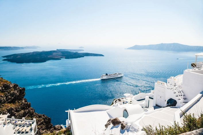 White buildings on Santorini Island in Greece