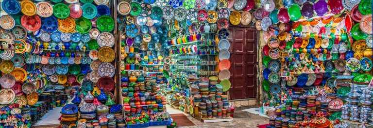 Colorful Arabic plates in the souks of the Medina in Marrakech, Morocco