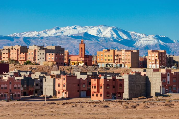 Ouarzazate-city-and-High-Atlas-Mountains-aerial-panoramic-view-Morocco-shutterstock_400564318