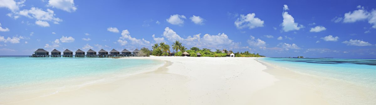 Panorama shot of tropical island, Maldives on a sunny day