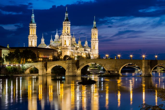 View-of-Our-Lady-of-the-Pillar-at-twilight-in-Zaragoza-Aragon-shutterstock_119525773